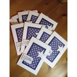 Weihnachtskarte dunkelblau mit Stern