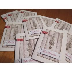 Weihnachtskarte weiss/braun mit Tannenbaum