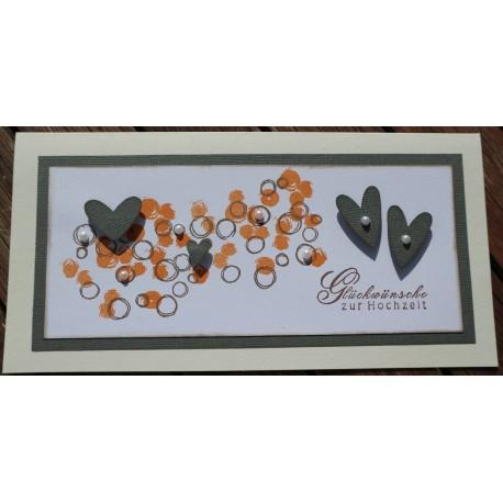 Hochzeitskarte lang Herzen grau