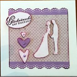 Hochzeitskarte quadratisch lila