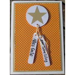 Geburtstagskarte Stern orange