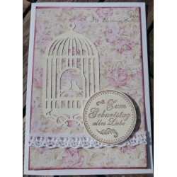 Geburtstagskarte Vogelkäfig rosa