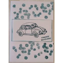 Geburtstagskarte Auto petrol